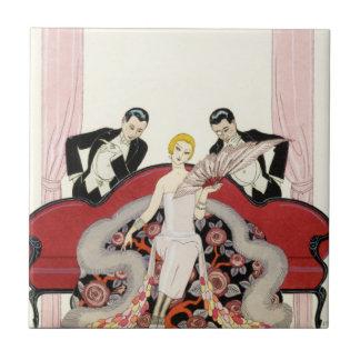 Elegant Lady in Paris Art Deco Tile
