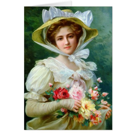 Elegant Lady With Bouquet Greeting Card