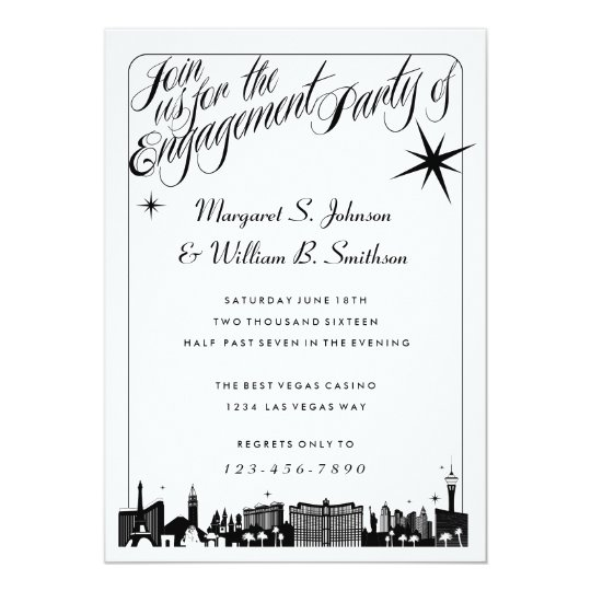 Elegant Las Vegas Skyline Engagement Invitations