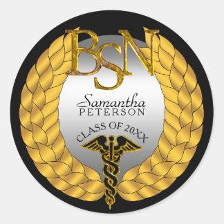 Elegant Laurel Wreath BSN Nursing Degree Caduceus Classic Round Sticker