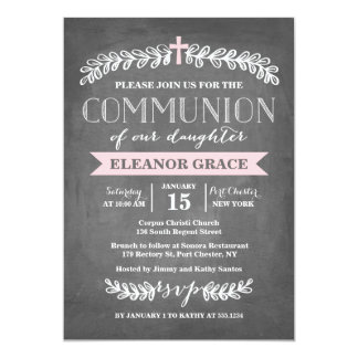 Elegant Laurels Pink | Communion Invitation