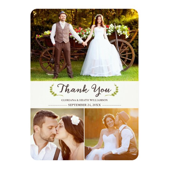 Elegant Laurels Wedding Thank You Photo Flat Card
