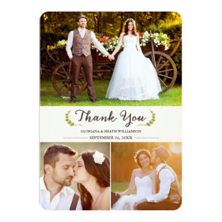 Elegant Laurels Wedding Thank You Photo Flat Card 13 Cm X 18 Cm Invitation Card