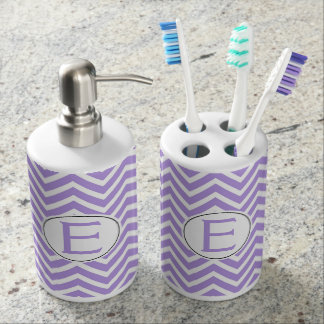 Elegant Lavender and White Chevron Custom Monogram Bathroom Set