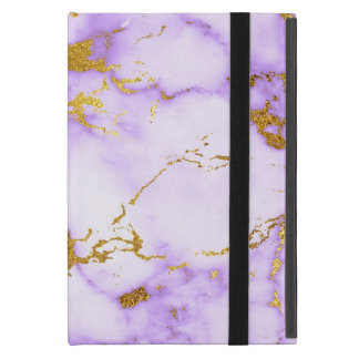 Elegant Lavender Gold Faux Metallic Marble Pattern iPad Mini Case