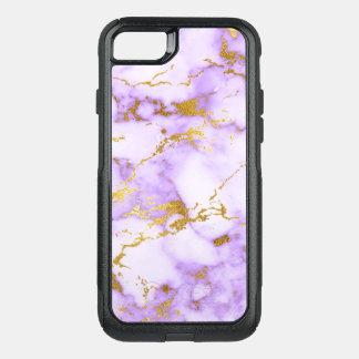 Elegant Lavender Gold Faux Metallic Marble Pattern OtterBox Commuter iPhone 8/7 Case