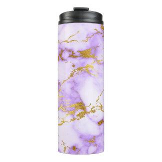 Elegant Lavender Gold Faux Metallic Marble Pattern Thermal Tumbler