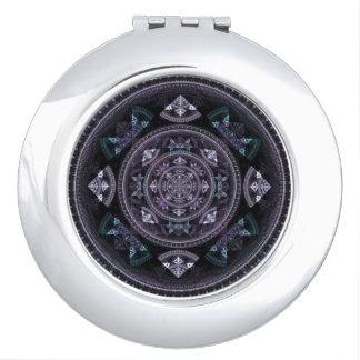 Elegant Lavender Intricate Fractal Galaxy Mandala Mirror For Makeup
