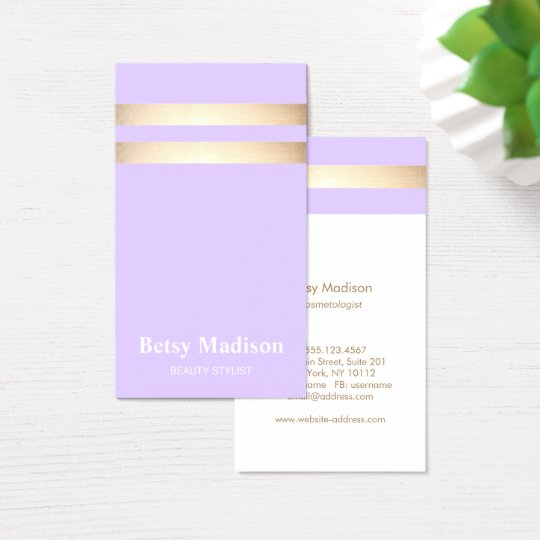 Elegant Lavender Purple and Faux Gold Foil Stripe