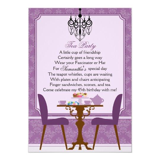 Elegant Lavender Purple Damask Birthday Tea Party Card