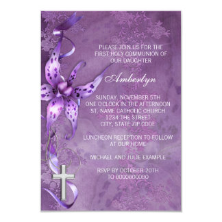 Elegant Lavender Purple First Communion Invitation