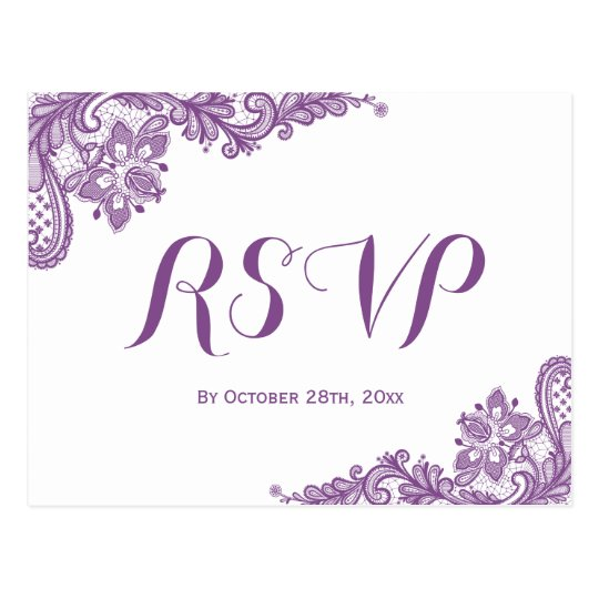 Elegant Lavender Purple Lace Wedding RSVP Postcard