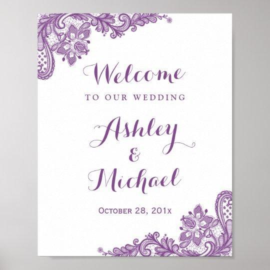 Elegant Lavender Purple Lace Wedding Sign Poster