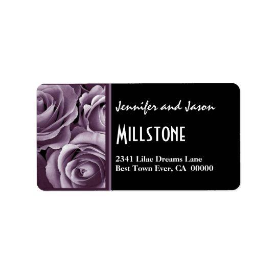 Elegant Lavender Purple Roses Modern Lettering Label