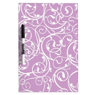 Elegant Lavender Vintage Scroll Damask Pattern Dry Erase Board
