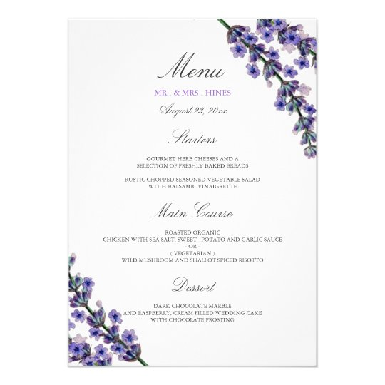 Elegant Lavender Wedding Dinner Menu Card