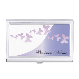 Elegant Lavender with Butterflies | Personalize Business Card Holder