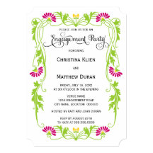 Elegant Leaf Floral Swirls Photo Engagement Party 13 Cm X 18 Cm Invitation Card