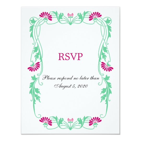 Elegant Leaf Florals and Swirls RSVP / Reply Cards