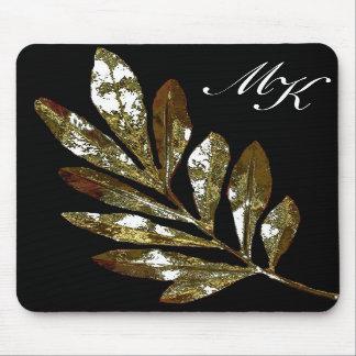 Elegant Leaf Monogram Mousepad