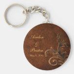 Elegant Leather Scroll Leaf Wedding Favour Keychains