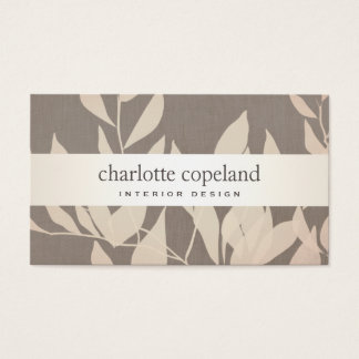 Elegant Leaves Chic Interior Design Taupe Nature Business Card