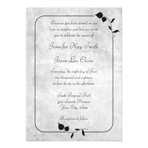 Elegant Leaves Silhouette Wedding Invitations