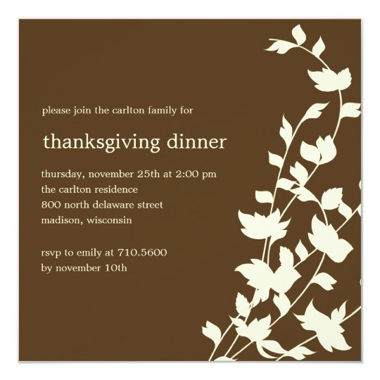Elegant Leaves Thanksgiving/Fall Party Invitations