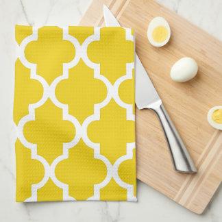 Elegant Lemon Yellow Quatrefoil Tiles Pattern Tea Towel