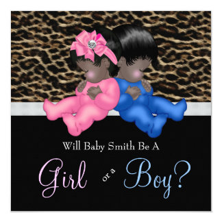 Elegant Leopard Baby Gender Reveal Shower 13 Cm X 13 Cm Square Invitation Card