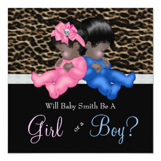 Elegant Leopard Baby Gender Reveal Shower Personalized Invitations