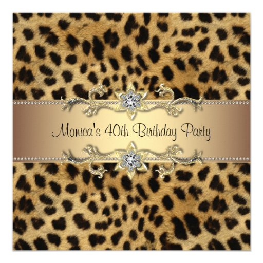 Elegant Leopard Birthday Party Announcement