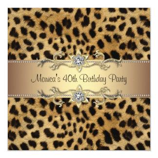 "Elegant Leopard Birthday Party 5.25"" Square Invitation Card"