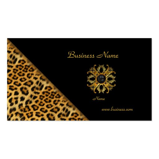 Elegant Leopard Black Gold Business Card