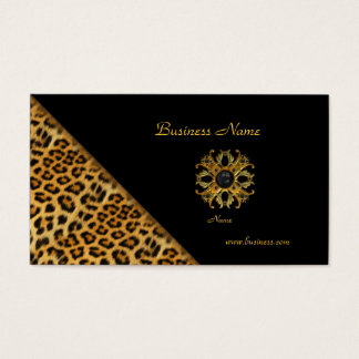Elegant Leopard Black Gold Business Card