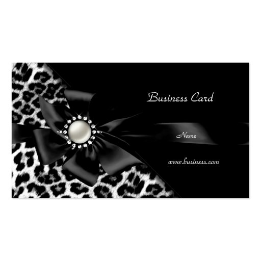 Elegant Leopard Black Silver Diamond Business Card Templates