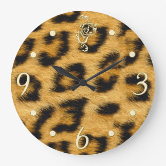 Elegant Leopard Fur with Gold Clockface Wall Clock