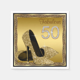 Elegant Leopard Gold High Heel 50th Birthday Party Paper Napkin