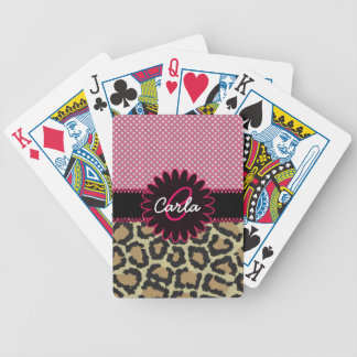 Elegant Leopard Print and Polka Dot Monogram Bicycle Playing Cards