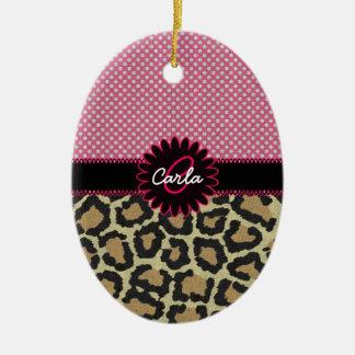 Elegant Leopard Print and Polka Dot Monogram Christmas Ornament