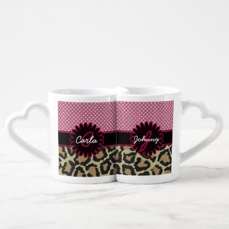 Elegant Leopard Print and Polka Dot Monogram Mug