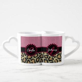 Elegant Leopard Print and Polka Dot Monogram Mug Couples Mug