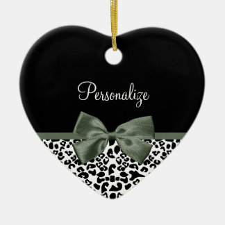 Elegant Leopard Print Dark Green Ribbon With Name Christmas Ornament