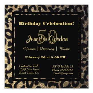 Elegant Leopard Print Glitter 13 Cm X 13 Cm Square Invitation Card