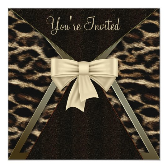 Elegant Leopard Womans Birthday Party Card