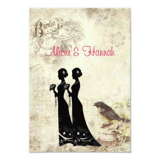 "Elegant, Lesbian Wedding, VIntage Birds RSVP Card 3.5"" X 5"" Invitation Card"