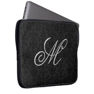 Elegant Letter M Sparkling Diamonds-Monogram Laptop Sleeve