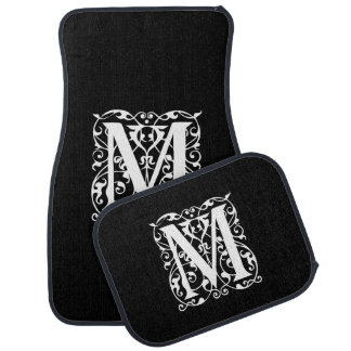 Elegant Letter M White on Black Monogram Car Mat