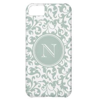 Elegant Letter N Monogram Celadon Damask iPhone 5C Case