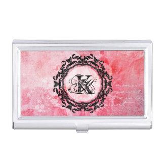 Elegant Letter Pink Floral Rose Pattern Business Card Holder